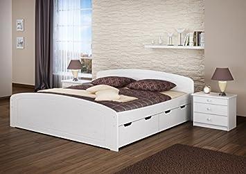 Erst Holz Ehebett Doppelbett Bettkasten 180x200 Seniorenbett Massivholz Kieferbettgestell Weiß 6050 18 W Or