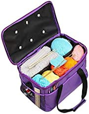 LEMESO Upgraded Knitting Bag, Yarn Storage Bag, Contains Portable Individual Compartments, Comes with A Shoulder Strap, Purple