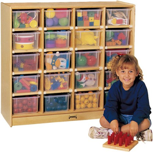 Jonti-Craft 0621JC 20 Cubbie-Tray Mobile Unit with Colored Trays