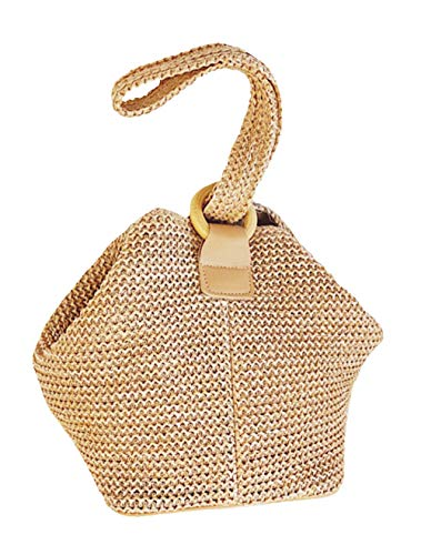 - Women's Straw Circular Ring Handbag Bucket Bag Shoulder Bag Messenger Bag