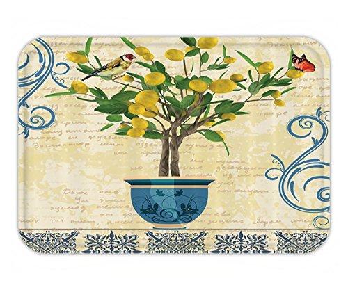 Beshowere Doormat LemonDecor Lemon Tree Bird Traditional TilePaisley Monarch Butterfly Bird Vintage Style Floral Flowerpot Ceramic Vase Pattern Bathroom Decor Ivory Yellow Green Blue Navy.jpg