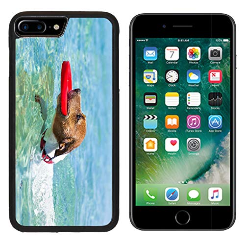 MSD Apple iPhone 8 Plus Case Aluminum Backplate Bumper Snap Case Image ID 28835600 Dog catching a red Flying disc and Swimming in Water