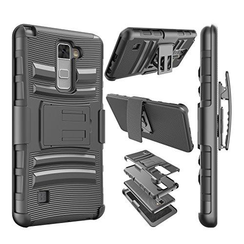 Njjex For LG Stylo 2 Case, For LG Stylo 2 Plus Case, [Ngate] Armor Shock Swivel Locking Holster Belt Clip Kickstand Heavy Defender Full Body Carrying Case Cover For LG Stylus 2/Stylus 2 Plus [Black]