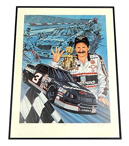(Dale Earnhardt Four to Go Framed Artist Proof Print Signed By Sam Bass - Autographed NASCAR Photos)