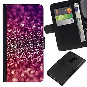 BearCase / Cuero de la tarjeta la carpeta del tirón Smartphone Slots Protección Holder /// LG G2 D800 /// Sparkle púrpura brillante reflectante