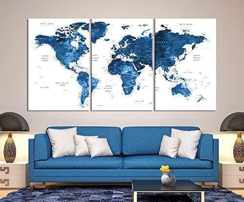 Large Wall Art Push Pin World Map Canvas Print