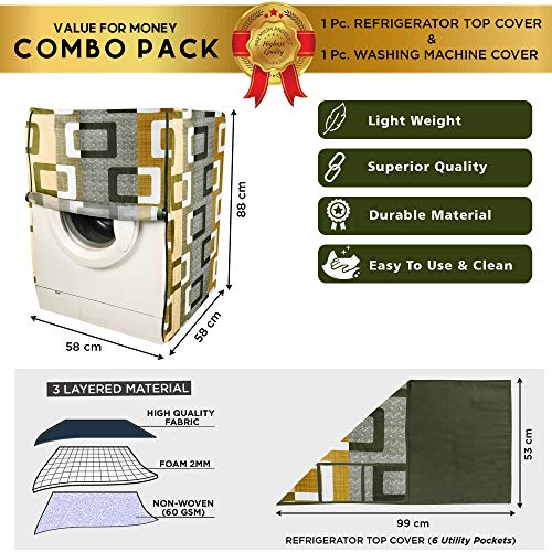 E-Retailer® Combo Set of Front Load Washing Machine Cover and Fridge Top Cover with 6 Pockets (Green, Set of 2 Pcs) 51TC6aPSRtL India 2021
