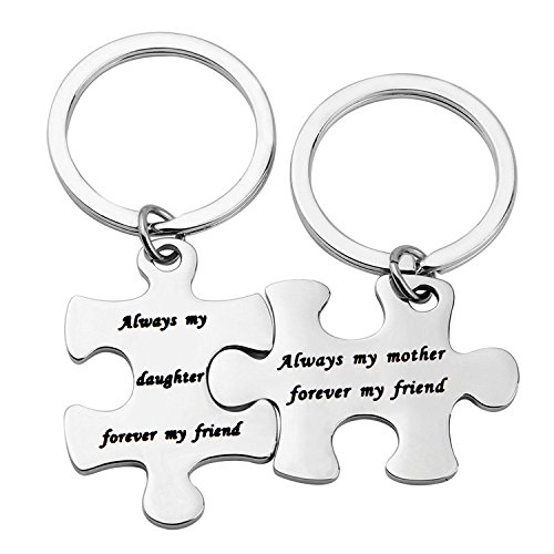 Gzrlyf Mother Daughter Keychain Necklace Always My Mother Daughter Forever My Friend Keychain Necklace Puzzle Piece Jewelry Bonus Mother Bonus Daughter Gift (Mother Daughter Keychain) (Mother Daughter Best Friends)