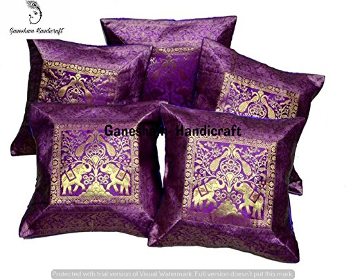 Embroidered Vintage Pillowcase - Ethnic Handmade Decorative Silk Brocade Purple Elephant Zari Traditional Living Room Decor Cushion Cover Vintage Mandala Pillowcases Hand Embroidered Indian Boho Bohemian Sofa Pillow Throw 17x17( 5Pc)