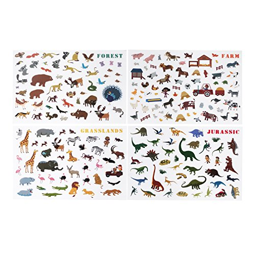 USATDD Reusable Sticker Pads Set Animal Zoo World 200+ Repositionable Stickers and 4 Scenes (Fill Icon Tee)