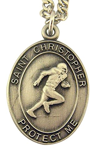 Football Jeweled (Religious Jewelry Mens Boys Pewter Saint Christopher Football Sports Athlete Medal Pendant, 1 Inch)