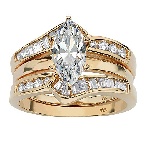 Marquise-Cut White Cubic Zirconia 18k Gold over .925 Sterling Silver 2-Piece Jacket Bridal Set Size 8