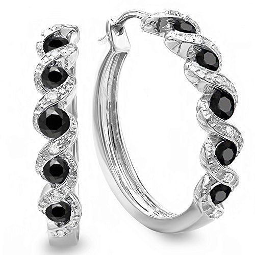 0.86 Carat (ctw) Sterling Silver Black and White Round Diamond Ladies Hoop Earrings by DazzlingRock Collection