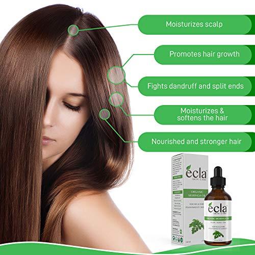 Moringa Seed Oil Organic 100% Pure, Cold Pressed, Unrefined Moringa Oleifera Oil Moisturizer For Face, Skin and Hair (4 Oz 120ml) Glass Bottle
