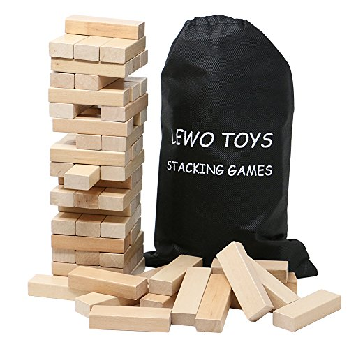 Lewo Wooden Stacking Board Games Tumble Tower Building Blocks Set 54 pieces with Storage Bag by Lewo