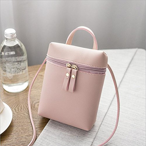 Retro Girls Ladies Shoulder Zipper Bucket Bag Lady Bolso Y Monedero Fashion Tote Para Mujer,Pink