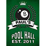 Personalized Metal Bar Man Cave Wall Sign with Pool Room Design perfect gift for Bestman, Groomsmen gift Him
