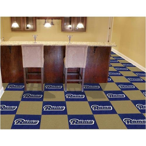 Fan Mats 8562 NFL - St Louis Rams 18'' x 18'' Team Carpet Tiles (10 Logo, 10 Solid per Box - appx 45 sq ft) by Fanmats