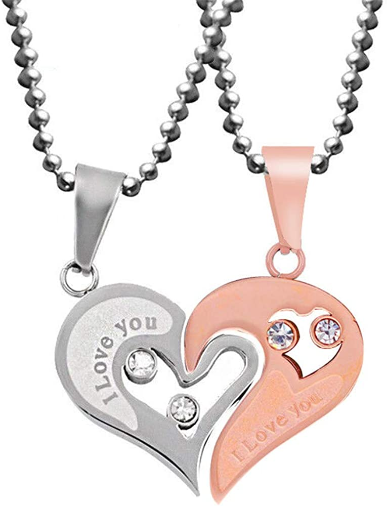 Uloveido Stainless Steel Mens Womens Couples Pendant Necklace Love Heart CZ Puzzle Matching Fashion Jewelry Gifts (9 clolors to Choose) SN102