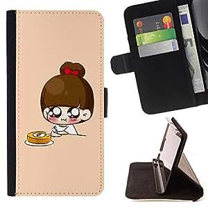 BullDog Case - FOR/Apple Iphone 6 PLUS 5.5 / - / Cute Japanese Anime Breakfast /- Monedero de cuero de la PU Llevar cubierta de la caja con el ID Credit Card Slots Flip funda de cuer