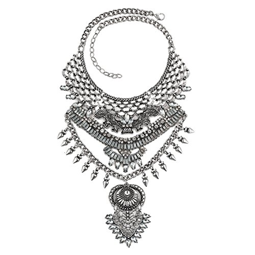 (LuckyJewelry LuckyJewelry Woman Vintage Long Bohemian Silver Chain Choker Party Statement Necklaces Pendant (Retro Style 03))
