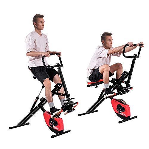 ONETWOFIT 2-in-1 Folding Exercise Bike and Upright Squat Assist Row-N-Ride Trainer,Stationary Bike Cardio Workout with Adjustable Magnetic Resistance-220lbs Weight Support OT099