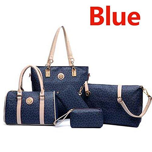 Rising ON Wholesale 2016 women fashion high-grade leather shoulder bag handbags women messenger bags print purses 5 pieces/sets bolsas Chic Dark BlueOne Size