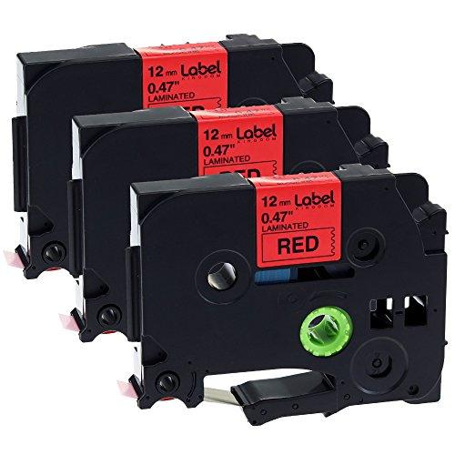 Label KINGDOM 3 Pack Compatible Brother TZe441 TZ441 TZe TZ Labelling Tape 18mm Black Print on Red Tape for PTD450 PT1880C PT-1880 PT-H500LI PT2730 PT-2430PC Label (18 Mm Labelling Tape)