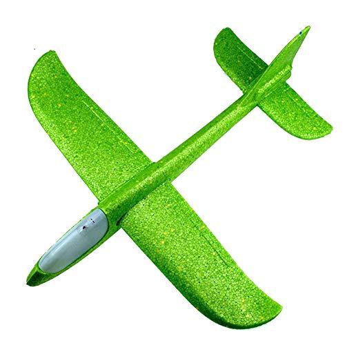 (Dreamyth- EPP Foam Throwing Glider Airplane Inertia LED Aircraft Toy Hand Launch Airplane Model Best Gift (Green Head lamp) )