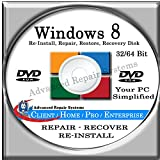 Software : WINDOWS 8 SYSTEM REPAIR & RE-INSTALL 32 Bit & 64 Bit BOOT DISK: Repair & Re-install any version of Windows 8 Client, Home, Core, Professional and Enterprise (Repair-Restore-Reinstall)