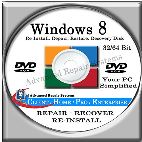 WINDOWS 8 SYSTEM REPAIR & RE-INSTALL 32 Bit & 64 Bit BOOT DISK: Repair & Re-install any version of Windows 8 Client, Home, Core, Professional and Enterprise (Repair-Restore-Reinstall)