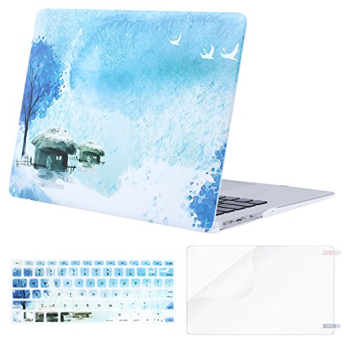 Mosiso Plastic Pattern Hard Case Shell with Keyboard Cover with Screen Protector for MacBook Air 13 Inch (Model: A1369 and A1466), Snow Surrounds Fishermen Houses
