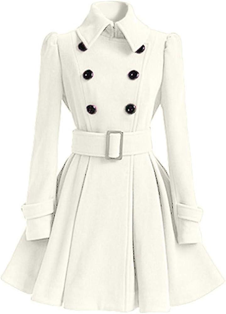 MERICAL Elegante da Donna Cappotto in Lana Sottile Stile Principessa con Giacca Cappotto Fibbia della Cintura