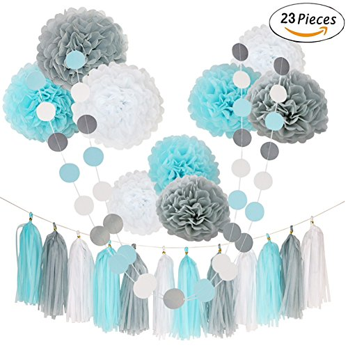 23 Pcs Teal Blue Gray White Happy Birthday 1st Baby Shower Party Wedding Favors Hanging Decorations Kit with Paper Tissue Flowers Tassel Hangings and Dots Garlands - Blue Garland Dessert