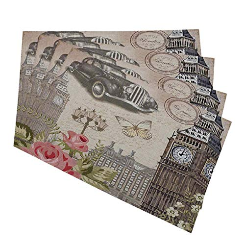 Mugod Old Car Ben Flower Placemats London Vintage Postcard Decorative Heat Resistant Non-Slip Washable Place Mats for Kitchen Table Mats Set of 4 12