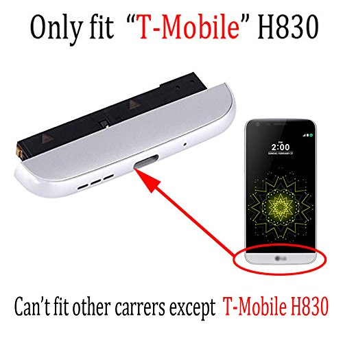 Only fit H830 Bottom cover Complete TYPE-C USB Charger Port Flex Cable Replacement With Microphone Speaker Assembly Bottom cover Chin Charging Module for LG T-Mobile G5 silver ()