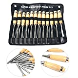 Yaetek Wood Carving Chisel Set - 12 Piece Sharp Woodworking Tools Carrying Case Professional Gouges Hand Tool - Great for Beginners