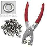 "1/4"" Grommet Eyelet Setting Pliers with 100 Silver Grommets offers"