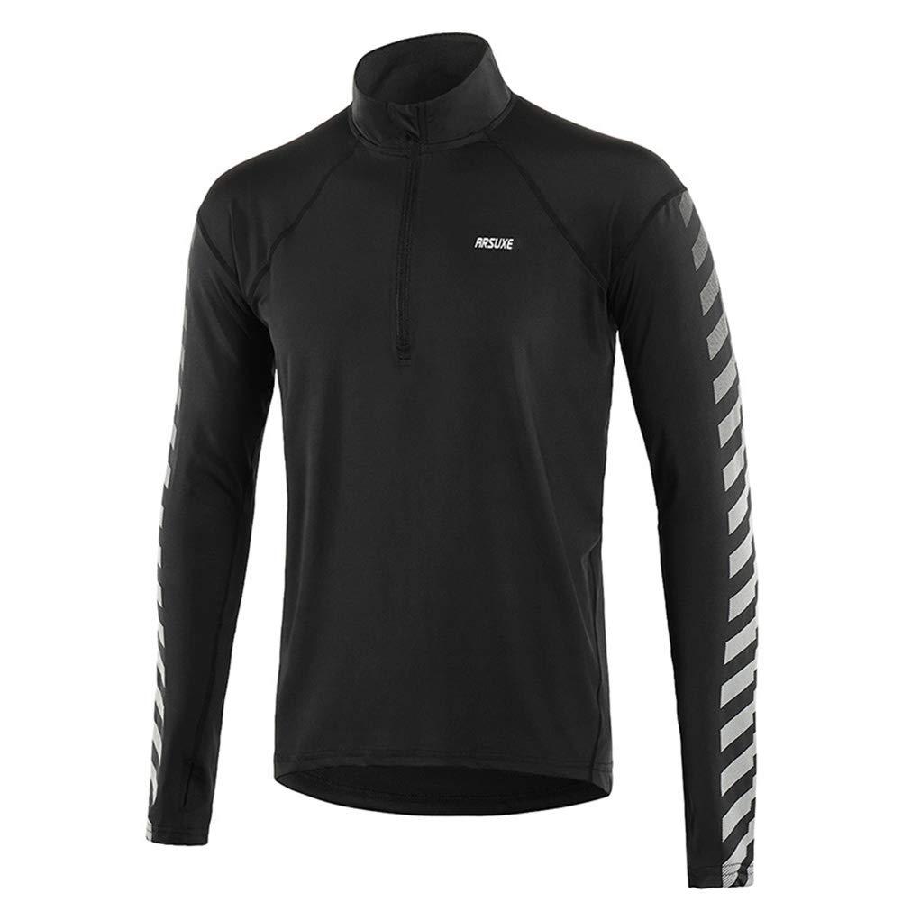 Männer Frühling und Herbst Running Hemden Langarm Outdoor Sports Shirts Half- Zipper Laufen Kleidung Reflektierende