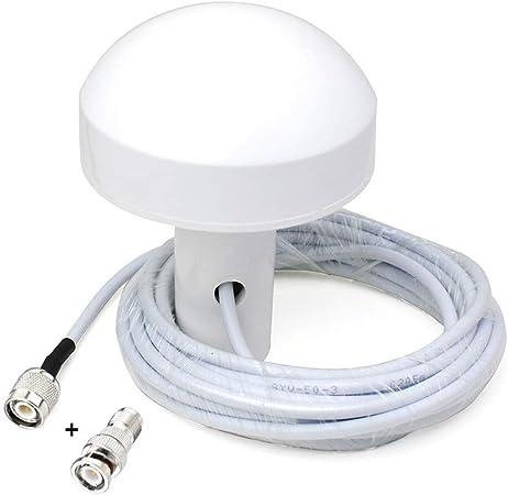 Eightwood Timing Antena de recepción GPS Activa Amplificador de señal GPS 28dB Adaptador BNC Macho Cable de 5 m + Adaptador BNC Hembra a TNC Macho ...