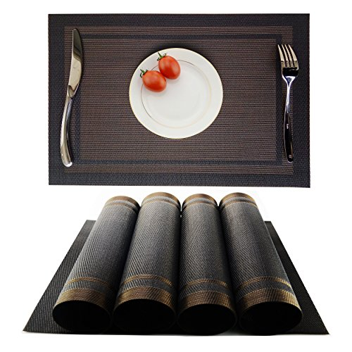 Placemats Heat-resistant Dining Table Place mats Anti-skid Washable PVC Kitchen Table Mats By KOKAKO ,Set of 4 (Black+Brown)