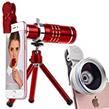 Youniker 3 in 1 Universal Camera Lens,18X Zoom Telephoto Lens+0.45X Wide Angle Lens+12.5X Macro Lens,Clip-on Cell Phone Camera Lens for iPhone 8/7/6 Plus,Samsung,Most Smartphones With Tripod (Red)