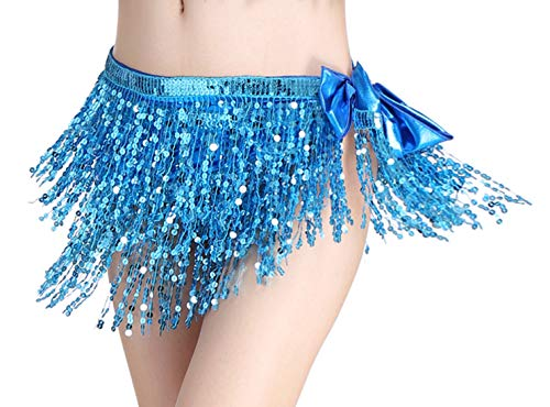 Aivtalk Women's Belly Dance Wrap Belt Tribal Plus Size Sequin Skirt Halloween Party Musical Festival Costume Accessories Light Blue