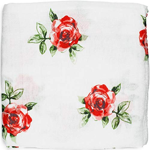 ADALINE Muslin Swaddle Blankets - Red Rose - Baby Girl Nursery Essentials - Silky Soft Bamboo Cotton (Large, 47x47)