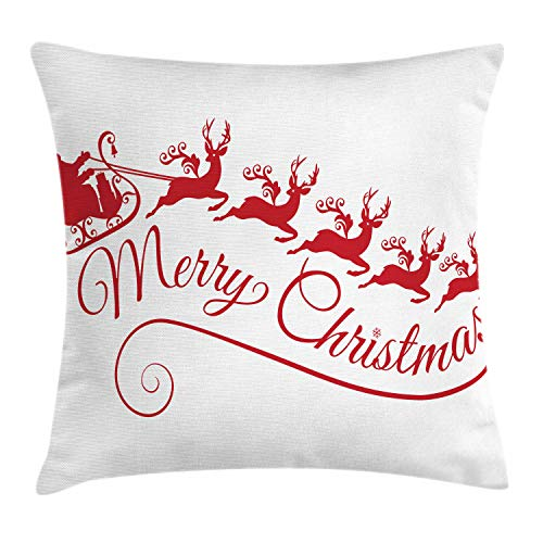 (Lunarable Merry Christmas Throw Pillow Cushion Cover, Santa with His Sleigh Reindeer Silhouette Style Xmas Art Deco, Decorative Square Accent Pillow Case, 40 X 40 Inches, Dark Pink and White)