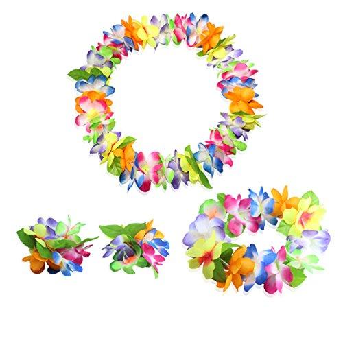 CISMARK Hawaiian Flower Leis Jumbo Necklace Bracelets Headband Set(multicolor)