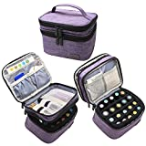 LUXJA Essential Oils Bag - Holds 20 Bottles (5ml-30ml, Also Fits for Roller Bottles), Double-Layer Organizer for Essential Oil and Accessories, Purple