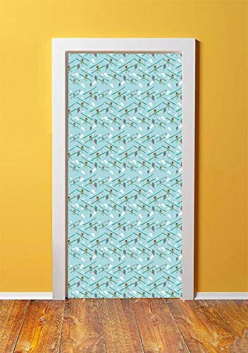 Baby 3D Door Sticker Wall Decals Mural Wallpaper,Funny Bear on Ladder Trying to Reach the Kite in Sky Clouds Kids Nursery Cartoon Decorative,DIY Art Home Decor Poster Decoration 30.3x78.8418,Turquoise