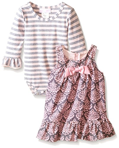 Bonnie Baby Baby-Girls Infant Toile Printed Corduroy Jumper with Stripe Tee, Pink, 24 Months ()