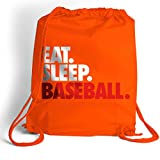 Cheap Eat. Sleep. Baseball. Cinch Sack | Baseball Bags by ChalkTalk SPORTS | Orange